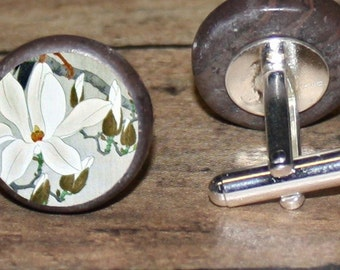 White LILY Cuff links or tie tack or ring or pendant or brooch