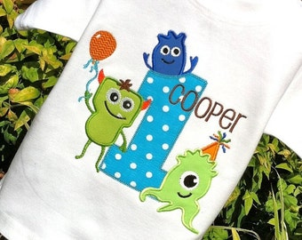 Boys Appliqued Monster Birthday with Age Tee