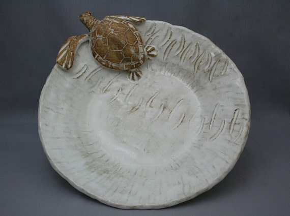 Nautical Ceramic Sea Turtle Serving Platter by Shayne Greco Beautiful Shabby Chic Mediterranean Sculpture Pottery