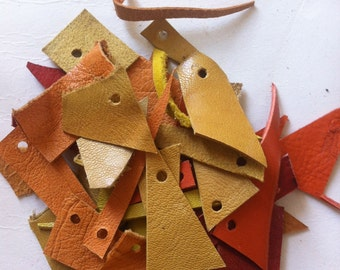 leather scraps - yellow, orange, pale brown