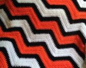 new chevron zig zag baby blanket afghan wrap crochet knit wheelchair ripple stripes VANNA WHITE nemo orange black white yarn handmade in USA