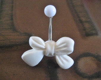 Belly Button Ring Jewelry- White Bow Pearl Stud Navel Ring Piercing Bar Barbell Bellyring Belly Button Ring Jewelry Belly Button Ring