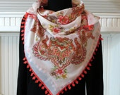 Cream, Terra Cotta, Ethnic Patterned, Silk Cotton Soft  Women Scarf