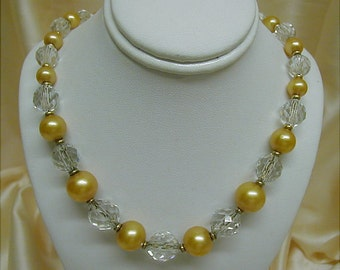Champagne Gold and Sparkling Crystal Glass Bead Necklace