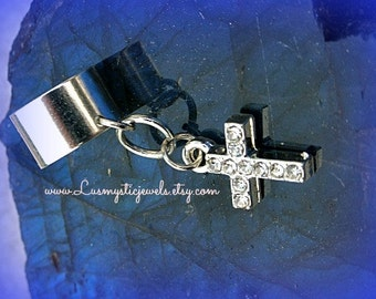Rhinestone Cross Ear Cuff,Cross Jewelry,I Love Jesus,Religious Jewelry Confirmation Gift,Faith Jewelry,No Pierce Earring,Back to School