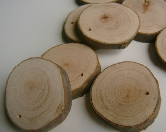 40  Blank Tree Branch Slices 1 to 1.5  inch Top Drilled