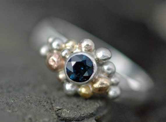 Blue Sapphire in Sterling Silver, Rose Gold, and Yellow Gold Ring- Custom Made