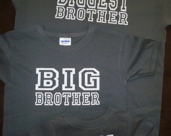 Big Bigger Biggest Brother Sister Sibling Shirts Set Of 4