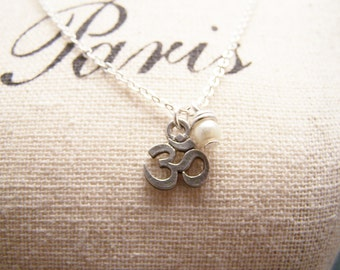 Delicate Om Necklace with Tiny Freshwater Pearl in Pewter. Subtle Peaceful  Tranquility