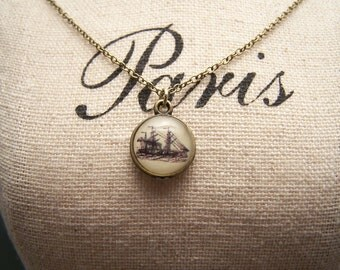 Tiny Clipper Ship Necklace. Adventure. Discovery. Exploration