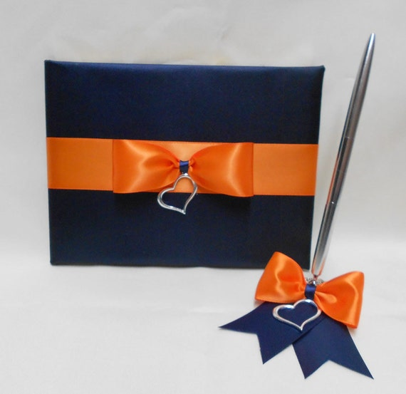 Navy Blue Orange Wedding Bridal Accessories By