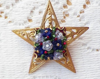 Star Spangled Sparkle Brooch / Pin Gold Filigree Star with Glass Bead Cobalt and Pearly Flowers with Red Accents Red, White, Blue