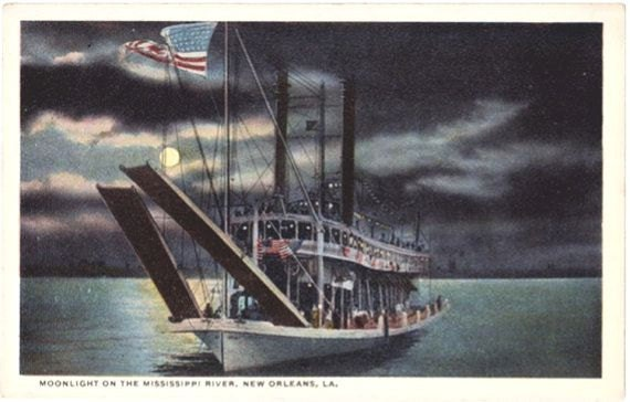 Vintage New Orleans Postcard - Moonlight on the Mississippi River (Unused)