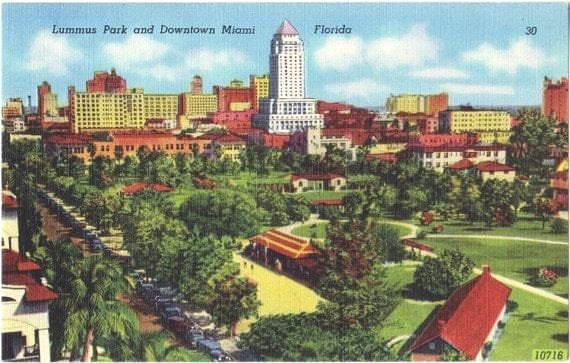 Vintage Florida Postcard - Lummus Park and Downtown Miami (Unused)
