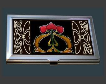 Business Card Case - featuring an Art Nouveau Tile (Red Hearts)