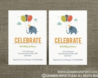 Instant Download-Blue Elephant Ballon Birthday Invitation