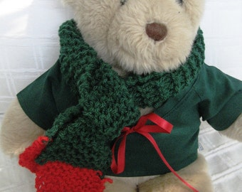 Teddy Bear Clothes, Reid Red and Green Top and Scarf