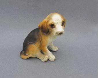 Vintage Lefton Sad Eyed Beagle Puppy Figurine Brown Orange Dog Porcelain