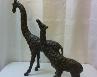 SALE Heavy Metal Mother and Baby Giraffe Sculptures