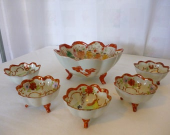 Six Piece Geisha Ware Nut Bowl Set