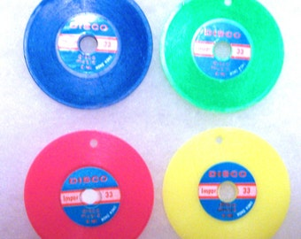 4 Vintage Disco Record Charms Bright colors