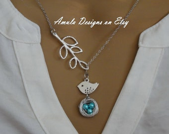 Lariat Style Teal Blue Bird Nest Necklace