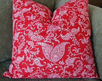 "Decorative Pillow Cover, One 18"" x 18"" in  Red and White Cotton Duck, Floral Print"