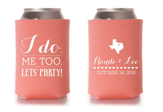 Custom Wedding Collapsible Can Coolers I Do By ChristineMeahan