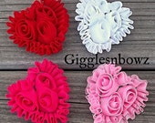 4pc Valentine Hearts- Shabby Heart Trim- Rosette Hearts- Tulle Heart Appliques- Fabric Hearts- Diy Valentine- Diy Headband- 2 inch Hearts
