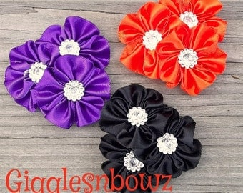 NeW CoLORS- Set of 3 PeTiTe Embellished Satin CLuSTeR Flowers- Purple, Orange and Black- 2.5 inch Size