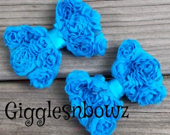 2pc Chiffon Rosette Bows- Turquoise Bows- Petite Size Shabby ROSE Mesh BoWS- 3 inch- Rosette Fabric Shabby Bow Flower- Diy Supplies