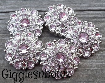 NEW Set of Five LiGHT PiNK Acrylic Rhinestone Buttons 27mm