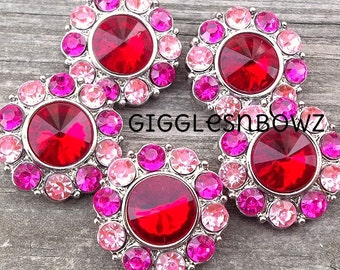NEW Set of 5- ReD CenTeR with BRiGHT PiNK and SHoCKiNG PiNK Acrylic Rhinestone Buttons 25mm