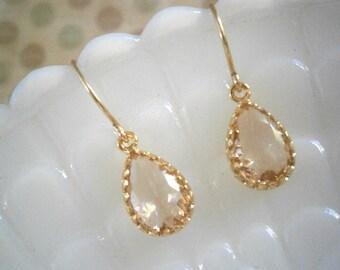 Petite Blush Champagne Earrings, Teardrop Gold Earrings, Bridesmaid Earrings, Best Friend Birthday, Jewelry Under 20, Gift For Her