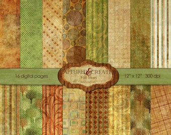 Fall Trees Digital Paper Pack *******INSTANT DOWNLOAD*********