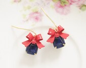 Red Bow Earrings - Navy Blue Vintage Glass Jewel and Red Enamel Bow Dangle Earrings - Preppy, Wedding, Bridal, Bridesmaid