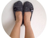 Black Grey Tweed Crochet Womens Slippers with black button
