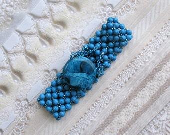 Denim Blue Woven Bead Bracelet