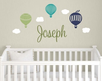 Childrens Name Decals, Hot Air Balloon Wall Decals, Personalized Name Decals, Baby Boy Nursery, Neutral Nursery Decor