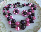Vintage Multi Strand Beaded Necklace with Cluster earrings Hot Pink and Purple Pearls
