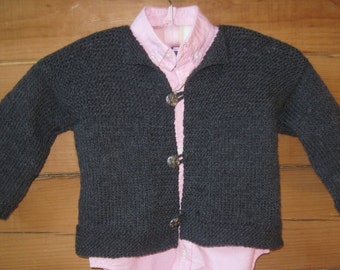 Hand Knit Baby Sweater Cardigan Jacket 18 Months Charcoal Gray Merino Wool Acrylic Blend Free US Shipping