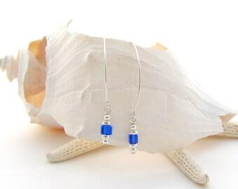 Saki Ear Wires w/Sapphire Swarovski Cubes
