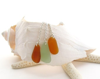 Sterling Silver Necklace w/Beach Glass Drops - Amber/Sage/Amber