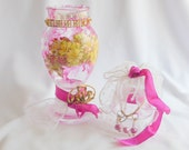Bright Fuchsia Altered Bottle, Apothecary Style Jar, Great Bath or Bedroom Decor, Entirely Useful or Just as Display