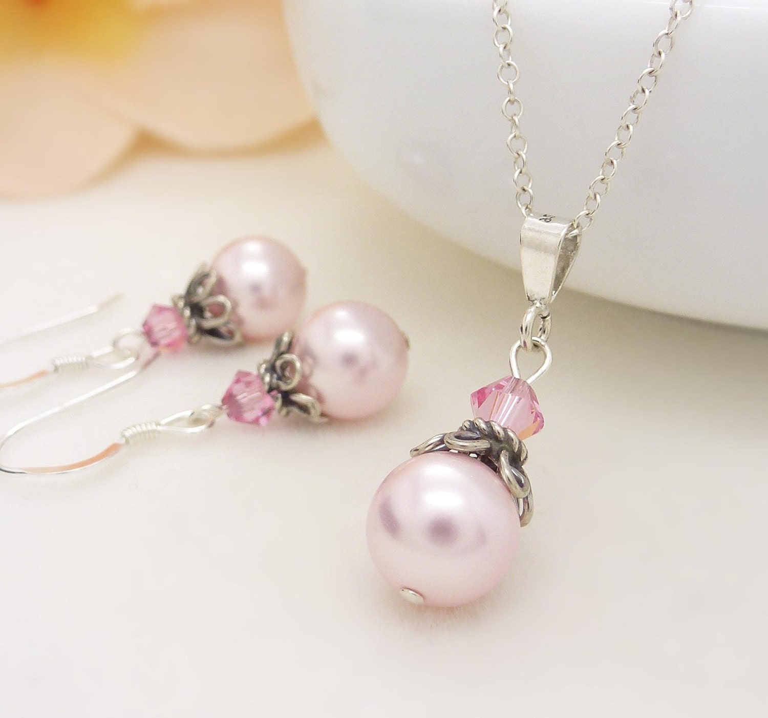 Light pink bridesmaid jewelry set pastel by for Pink wedding jewelry sets