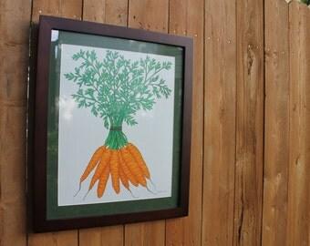 "Framed Carrots Original Drawing: 16"" x 20"""