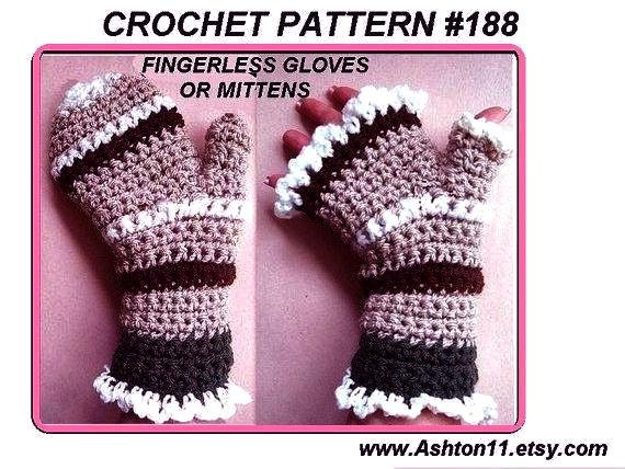 INSTANT DOWNLOAD Crochet Pattern PDF 188. Striped Mittens or Fingerless Gloves, 2 patterns in one, make them any size. craft supplies