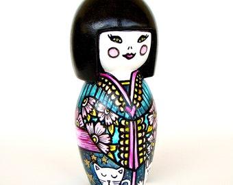 save 20% off Japanese Princess Bank Kawaii Hand Painted Ceramic Bunny Cat Pink Flowers Turquoise Blue Geisha Girl