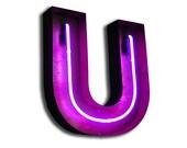 SALE!  Vintage Marquee Lights NEON Letter U Purple