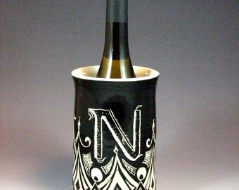 Custom Monogrammed Initial Black and White Geometric Sgraffito Vase, kitchen utensil crock, or Wine Bottle Chiller